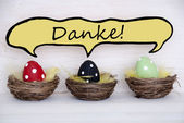 Three Colorful Easter Eggs With Comic Speech Balloon With Danke Means Thank You — ストック写真