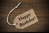 Close Up Of Label With Text Happy Birthday — Stockfoto