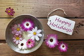 Silver Bowl With Cosmea Blossoms With Text Happy Holidays — Stockfoto