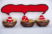 Three Red Easter Eggs With Comic Speech Balloon With Copy Space — Stock Photo