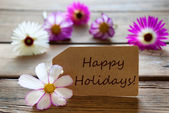 Label With Text Happy Holidays With Cosmea Blossoms — Stock Photo