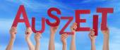 People Holding German Word Auszeit Means Downtime Blue Sky — Stock Photo