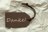 Brown Label With German Danke Means Thank You Background — Stock Photo
