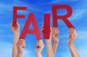 Many People Hands Holding Red Word Fair Blue Sky — Stock Photo