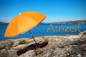 Swedish Coast With German Text Auszeit Means Downtime — Stock Photo