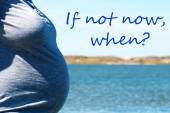 Pregnant Woman Infront Blue Sea With Text Not Now When — Stock Photo