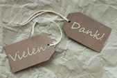 Two Beige Labels Vielen Dank Means Thank You Paper Background — Stock Photo