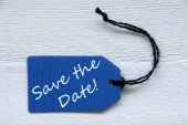 Blue Label With English Text Save The Date — Stockfoto