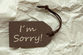 Brown Label With I Am Sorry Paper Background — Stock Photo