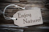 Enjoy Nature On Beige Label — Stock Photo
