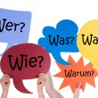 Many Colorful Speech Balloons With German Questions — Stock Photo #69693601