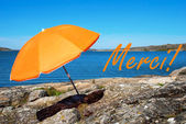 Swedish Coast With French Merci Means Thank You — Stock Photo