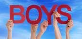 Many People Hands Holding Red Straight Word Boys Blue Sky — Stock Photo