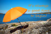 Swedish Coast With Quote Always Good Time To Begin — Stock Photo