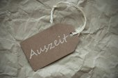 Beige Label With Auszeit Means Downtime Paper — Stock Photo