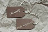 Brown Labels Happy Thanksgiving Paper Background — Stock Photo