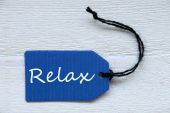 Blue Label With English Text Relax — Stock Photo