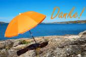 Swedish Coast With German Danke Means Thank You — Stock Photo