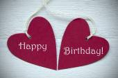 Two Red Hearts With Happy Birthday — Stock Photo