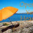 Swedish Coast With Quote Open Your Heart — Stock Photo #72671379
