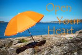 Swedish Coast With Quote Open Your Heart — Stock Photo