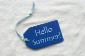Hello Summer On Blue Label Sand Background — Stock Photo