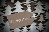 Brown Christmas Label With Welcome — Stock Photo