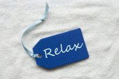Relax On Blue Label Sand Background — Stock Photo