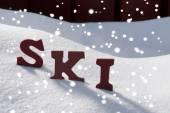 Ski On Snow With Snowflakes Christmas Season  — Stock Photo