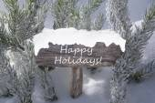 Christmas Sign Snow Fir Tree Branch Text Happy Holidays — Stock Photo