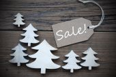 Label And Christmas Trees With Sale — Stock Photo