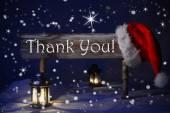Christmas Sign Candlelight Santa Hat Thank You — Stock Photo