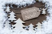 Label Trees Snow Joyeux Noel Mean Merry Christmas — Stock Photo