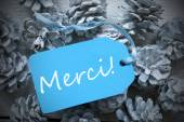 Light Blue Label On Fir Cones Merci Means Thank You — Stock Photo