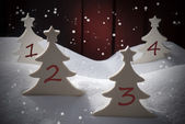 Four Christmas Trees, Snow, Snowflakes, Numbers 1, 2, 3, 4 — Stock Photo