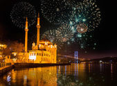Fireworks over Bosphorus Strait — Stock Photo