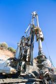 Diesel Pile Driver and iron cage — Stock Photo