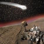 Comet C 2013 A1 over the Martian landscape — Stock Photo #58883031