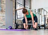 Teenage girl doing pilate exercises — Stock Photo