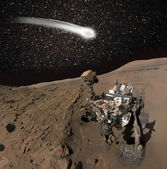 Comet C 2013 A1 over the Martian landscape — Stock Photo