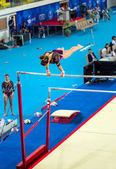Maria Trichopoulou, Greece performs exercise on uneven bars — Stock Photo