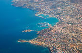 Beautiful perfect view of Kusadasi island from aircraft — Stock Photo