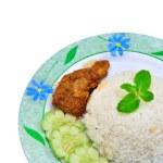 Nasi lemak traditional malaysian spicy rice dish — Stock Photo #56195845