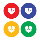 Set of flat simple heart icons — Stock Vector