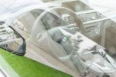 Interior of new modern model BMW car — Stock Photo
