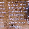 Glowing antique runes characters and letters of words from fiery text of ancient writings on rough stone wall — Stockfoto #61517785