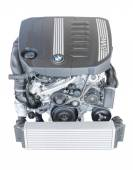 Isolated modern powerful flagship model BMW TwinPower turbo diesel engine — Stock Photo