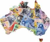 Map of Australia with Australian money dollar notes. — Stock Photo