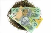 Australian money in the nest savings investment concept — Stock Photo