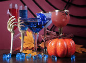 Happy Halloween ghoulish party cocktail drinks — Stock Photo